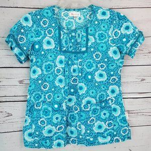 Peaches Uniforms Scrub  Top XS Blue Floral